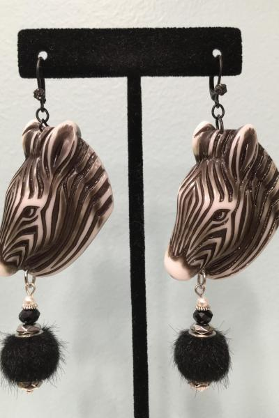 Zebra Head Earrings