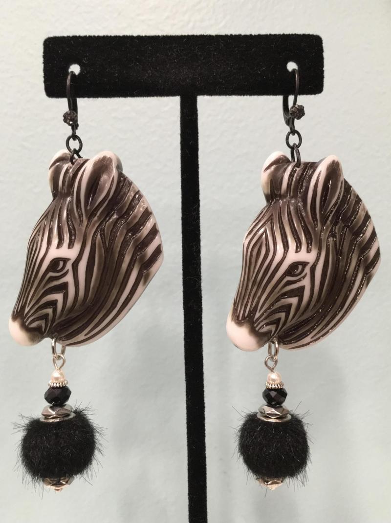 Zebra Head Earrings