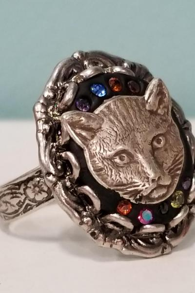 Cat Head Cameo Ring