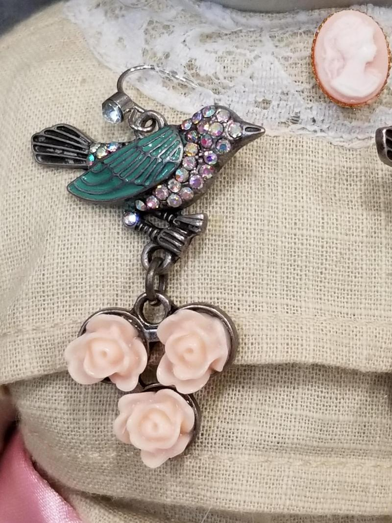 Tiffany Green Bird and Pink Roses Earrings