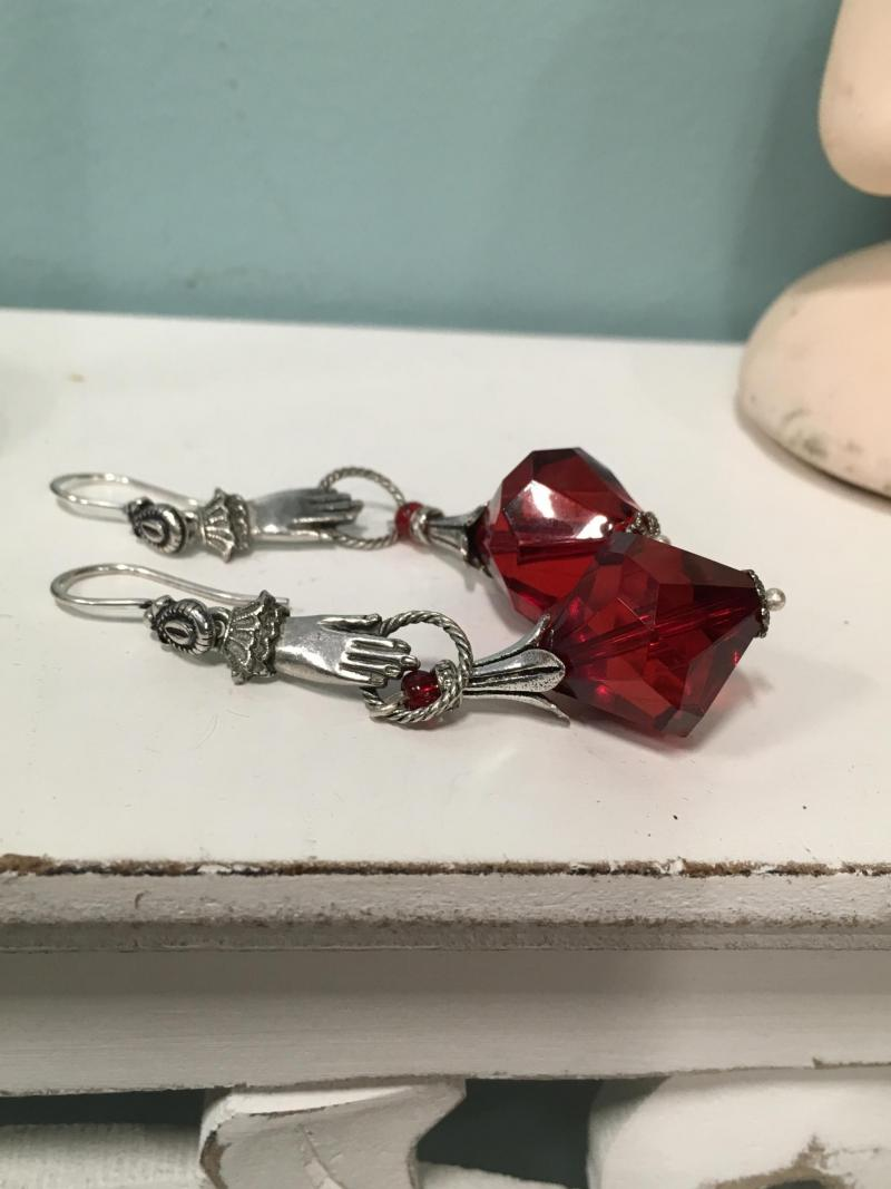 Victorian Hands with Red Gem Earrings