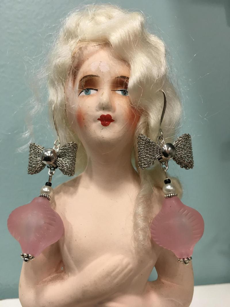 Pink Bubbles and Bows Earrings