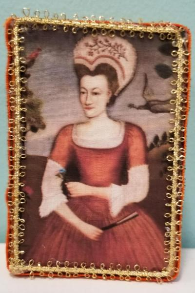 Lady in Brick Orange Dress with Bird Folk Art Painting Decorative Box