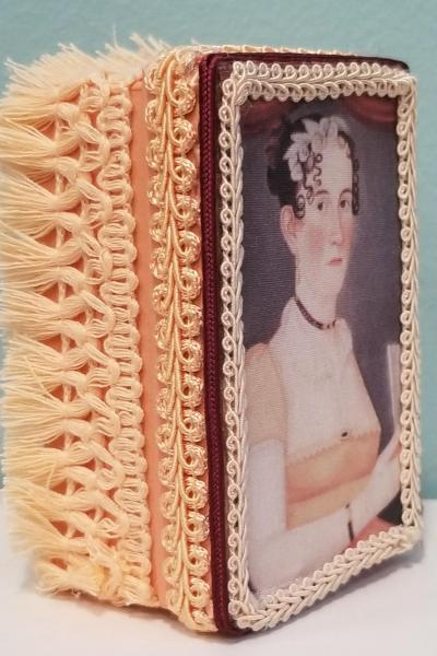 Folk Art Portrait of Colonial Woman with Peach Dress and Fan Decorative Box