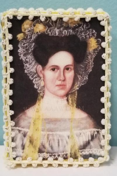 Folk Art Portrait of Woman in Yellow Flower Bonnet Decorative Box