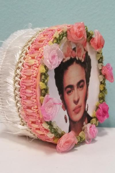 Frida Kahlo with Flower Headband Circular Decorative Box