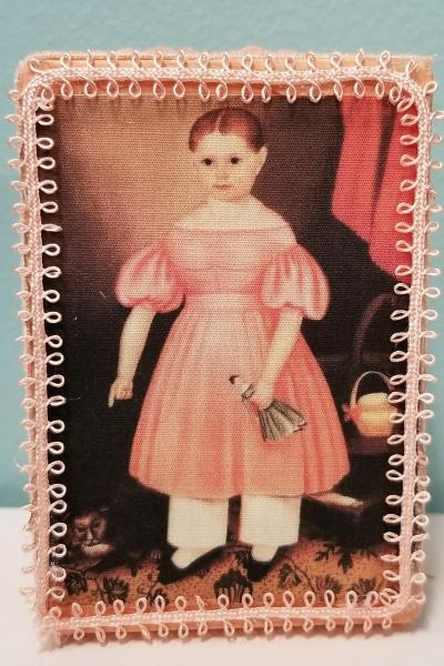 Primitive Colonial Girl in Peach Dress with Cat Decorative Box