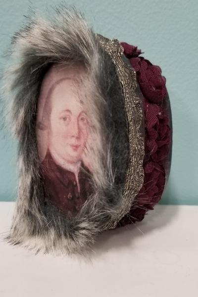 Unknown Georgian Gentleman in Burgundy Suit Gray Fur Decorative Box