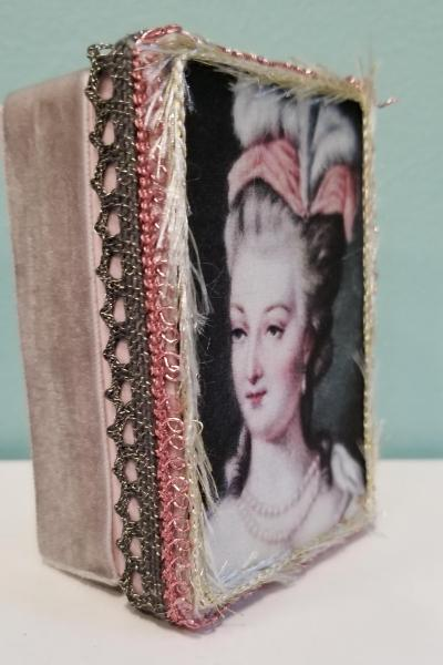 Marie Antoinette Portrait with Pink Feather Hat and Pearls Decorative Box