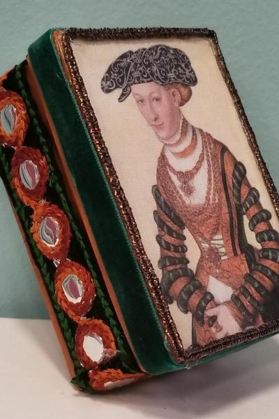 Portrait of Woman with Orange and Green Velvet Dress Decorative Box