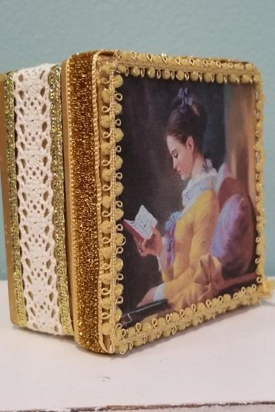 Portrait of Young Girl Reading in Bed Decorative Box