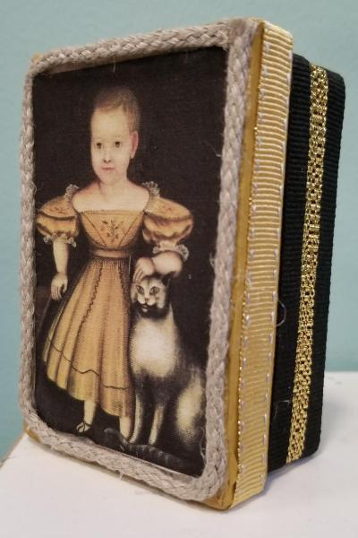 Primitive Colonial Girl in Mustard Dress and Gray Cat Decorative Box