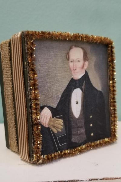 Primitive Folk Art Painting of Mr. Pearce Decorative Box