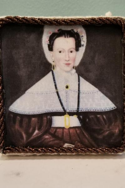 Primitive Folk Art Painting of Mrs. Pearce Decorative Box