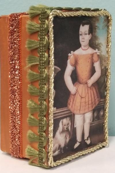 Primitive Folk Art Portrait of Child in Orange Dress with Dog Decorative Box
