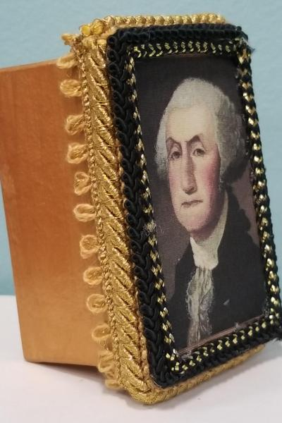 Primitive Folk Art Portrait of George Washington Decorative Box (Smaller Size)