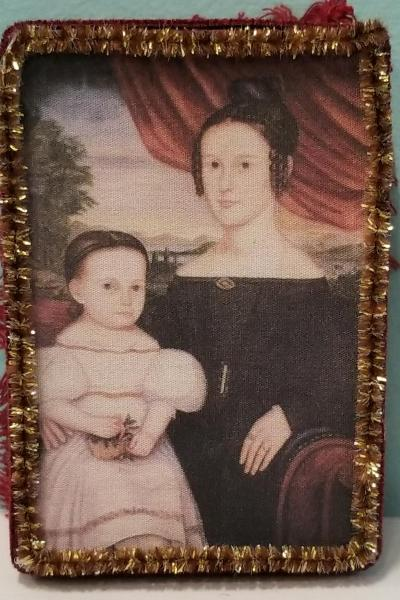 Primitive Folk Art Portrait of Mrs. Miner and Child Decorative Box