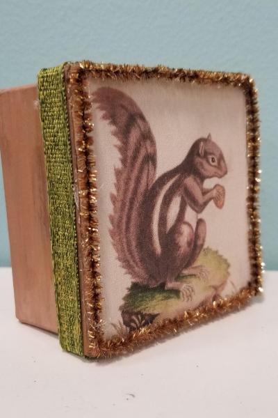 Vintage Squirrel Holding Acorn Decorative Box