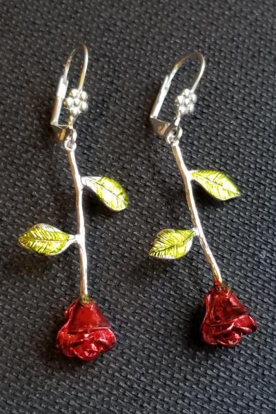 Long Stem Red Roses Earrings - Gold Toned (SMALLER VERSION)
